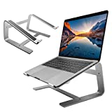 "Macally Aluminum Laptop Stand for Desk - Works with all Macbooks & Laptops between 10"" to 17.3"" - Sleek and Sturdy Laptop Riser Stand - Perfect Height to Eliminate Neck Pain - Silver"