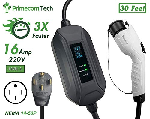 PRIMECOM Level 2 Electric Vehicle (EV) Charger (220V / 240Volt, 16Amp) Portable EVSE Smart Electric Car Charger, 30', 40', and 50 Feet Lengths (14-50P, 30 Feet)