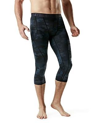 TSLA Men's Compression 3/4 Capri Pants Baselayer Cool Dry, Black, Size X-Large
