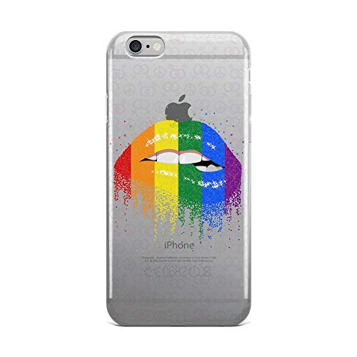 Compatible for iPhone 6 Plus/6s Plus LGBTQ Pride Rainbow Flag Lips Lesbian Gifts Pink Heart Anti-Scratch Covers