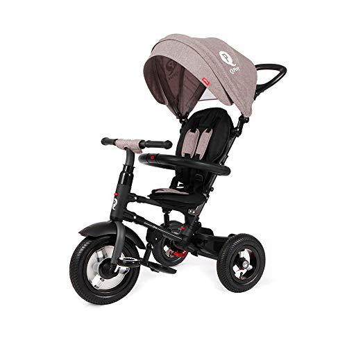 QPLAY Triciclo Evolutivo para Bebés con Ruedas de Aire Rito - Plegable - Gris - De 10 a 36 Meses - Peso máximo soportable 25kg