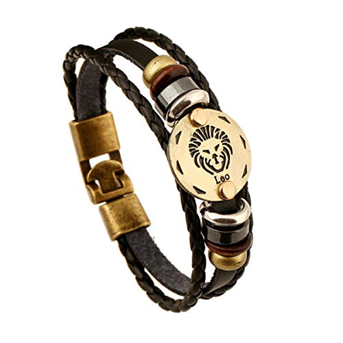 Armreif mit Kette, Fashionable Bronze Alloy Buckles Zodiac Signs Bracelet Punk Leather Bracelet Wooden Bead & Black Hematite Lover Charm Jewelry Leo 20.5cm