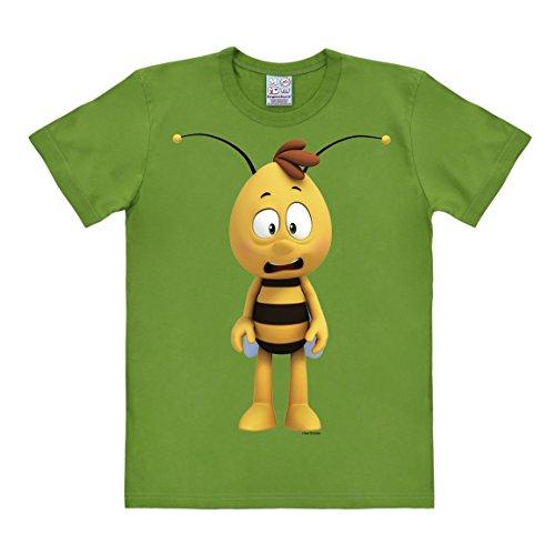Logoshirt Herren T-Shirt Biene Maja-Willi 3D, Grün-Green (Light Olive), M