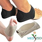 MEDIZED Plantar Fasciitis Therapy Wrap Heel Foot Pain Arch Support Ankle Brace Insole Orthotic … (Beige Arch Sleeve and Black Heel Wrap)