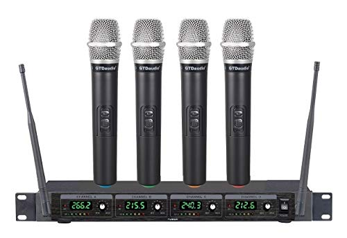 GTD Audio 4 Handheld Wireless Microphone Cordless mics System, Ideal for Church, Karaoke, Dj Party, Range up to 300 ft,