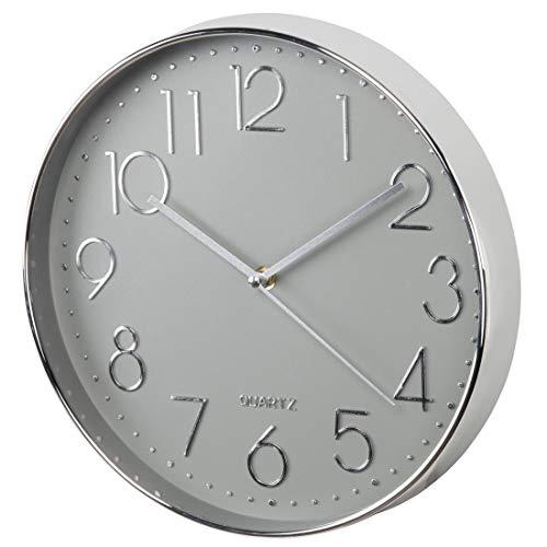 Hama Wanduhr ohne Tickgeräusche (große Wohnzimmeruhr mit 30 cm Durchmesser, analoge Küchenuhr mit schleichendem Sekundenzeiger, modernes Design) silber-grau