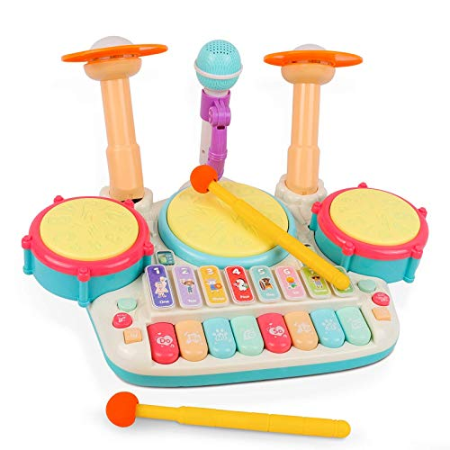 rabing-baby-musical-instruments-toys-5-in-1-toddler-drum-piano-set-kids-electronic-piano-keyboard-xylophone-drum-toys-set-with-microphone-lights-learning-toys-gift-for-baby-infant-1-3-years-old
