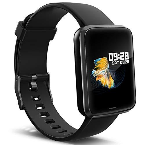 Lintelek Montre Connectée Intelligente, Pression Artérielle Cardio Fréquence Smartwatch Bracelet Connecté Ecran Couleur Montre Sport Etanche Podomètre Chronomètre pour Femme Homme iOS Android