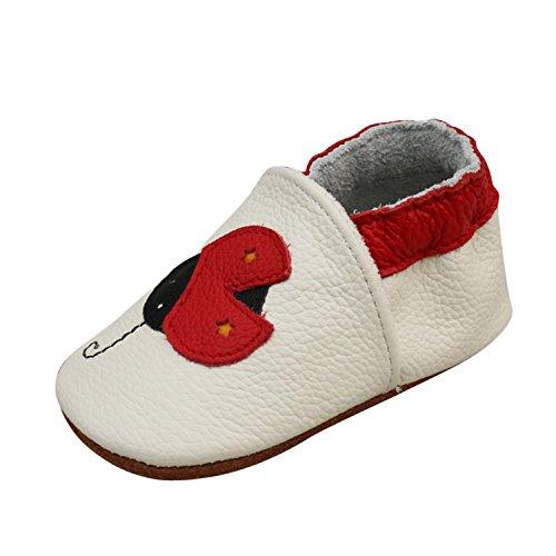 YASSON Chaussures Cuir Souple Bébé Fille Garçcon Chaussons Première Pas Coccinelle 12-18mois