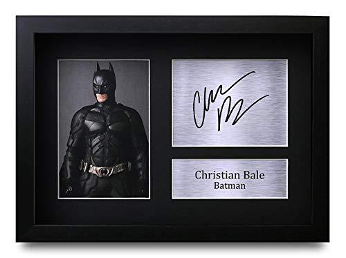 HWC Trading Christian Bale A4 Gerahmte Signiert Gedruckt Autogramme Bild Druck-Fotoanzeige Geschenk Für Batman The Dark Knight Filmfans