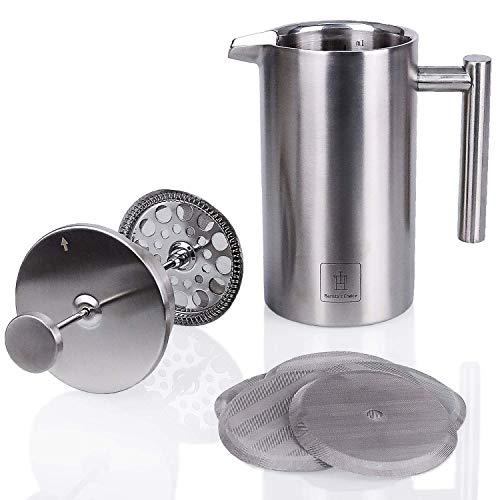 Barista\'s Choice French Press (max. 1 Liter) - hochwertiger Kaffeebereiter aus Edelstahl im edlen Design - spülmaschinenfest & doppelt isoliert