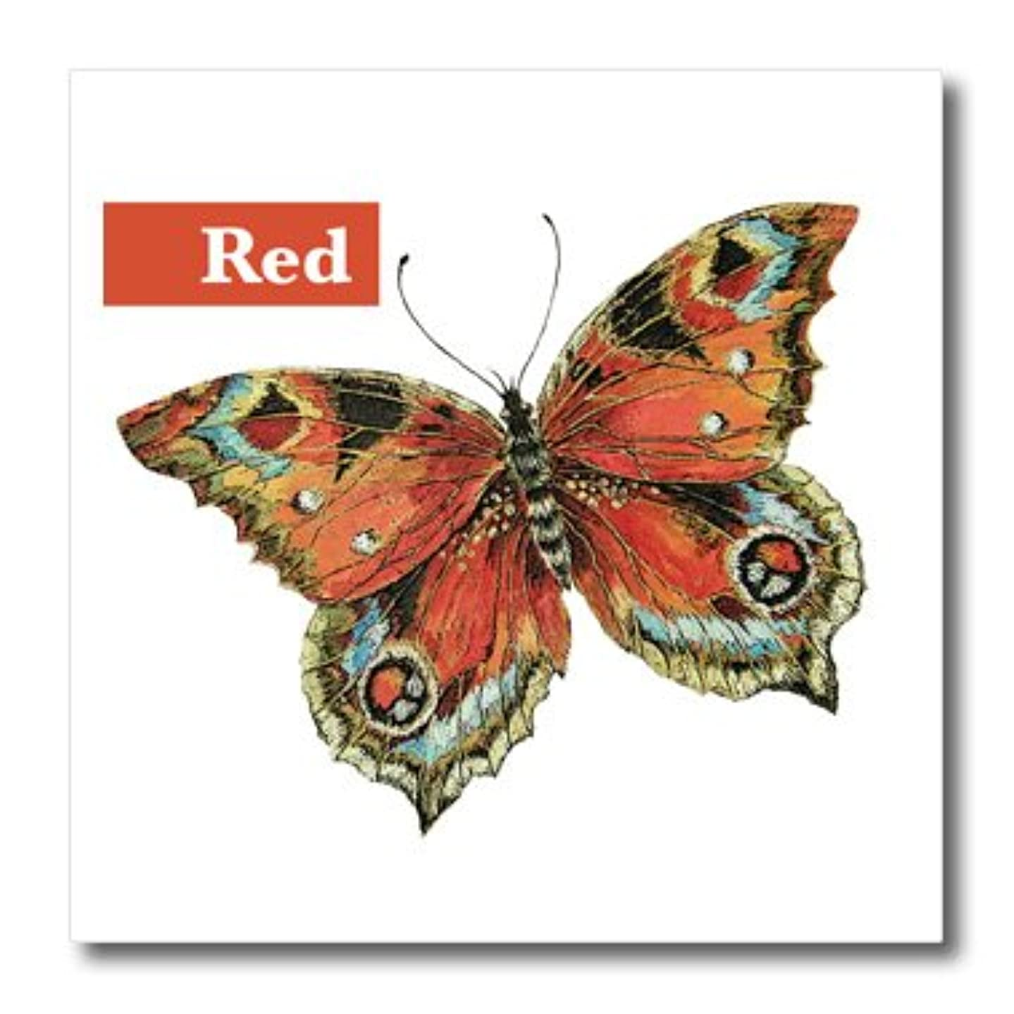 3dRose ht_200542_1 Butterfly Red, Vintage Butterfly Iron on Heat Transfer, 8 by 8