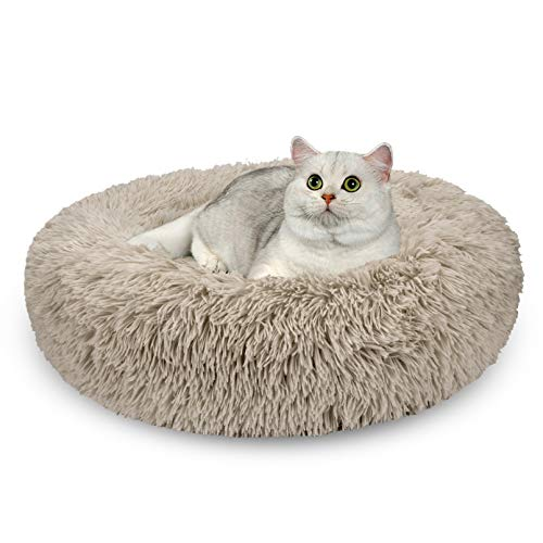 AIPERRO Pet Bed for Small Dogs and Cats Donut Cuddler Fur Round Dog Bed Soft Plush Fluffy Indoor Cat Bed, Anti Slip Bottom, 20/23/30 Inch for Puppy and Kitties (20 inch, Beige Brown)