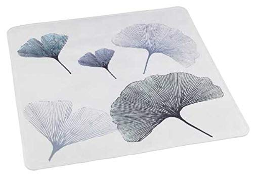 WENKO Duscheinlage Ginkgo, Duschmatte, Badewanneneinlage, Anti Rutsch Matte, Quadratisch, Motiv Blume, 54 x 54 cm
