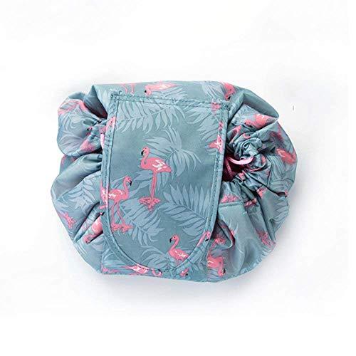 Bolsa de Cosméticos,Bolsa de Maquillaje, Organizador de un Solo Paso con Diseño de Cordón, Bolsa de Cosméticos para Señoras Perezosas (Gris Flamenco)