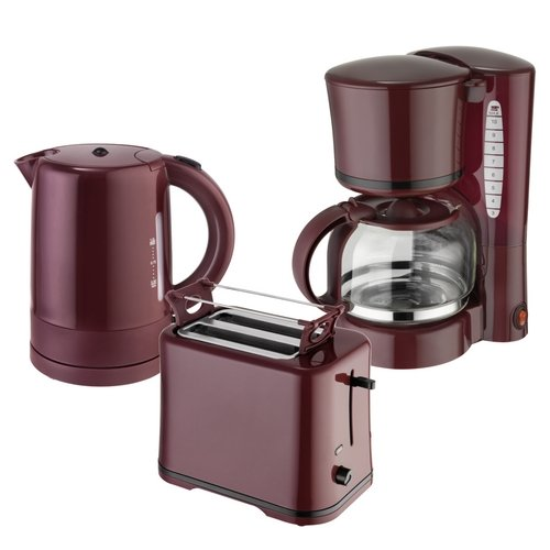 Efbe-Schott Frühstücksset WK 1080 + TO 1080 + KA 1080 Wasserkocher 1 L, Toaster und Kaffeemaschine 1,25 L Weinrot-Bordeaux