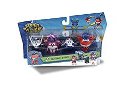 """This Super Wings toy figure set (from Series 3) features 4 fan-favorite characters in the 2"""" Transform-A-Bot scale: Police Jett, Kim, Paul and Rescue Dizzy 2 inch scale transforming figures - Transform from vehicle to bot in 3 easy steps. Transform-a..."""