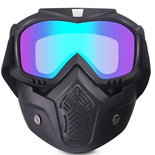 Máscara de Ciclismo Gafas, Gafas de Moto, Máscara Protectora Desmontable, Antivaho, Polvo,...