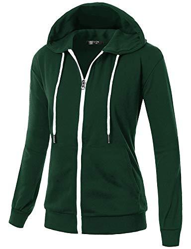 GIVON Womens Comfortable Long Sleeve Lightweight Zip-up Hoodie with Kanga Pocket/DCF200-GREEN-XL
