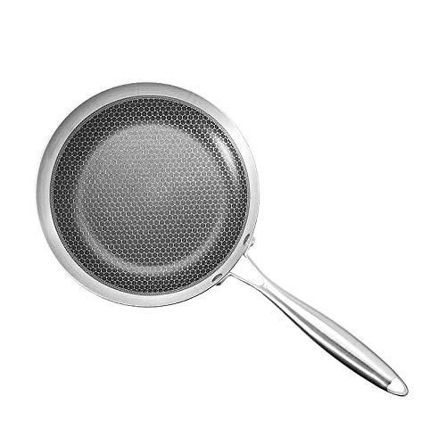 GCE Sauteuse ouvrante du Chef poêle antiadhésive antiadhésive en Acier Inoxydable 304 sans Couvercle crêpe œuf Frit poêle à Frire Convient pour cuisinière à gaz cuisinière à induction-28cm