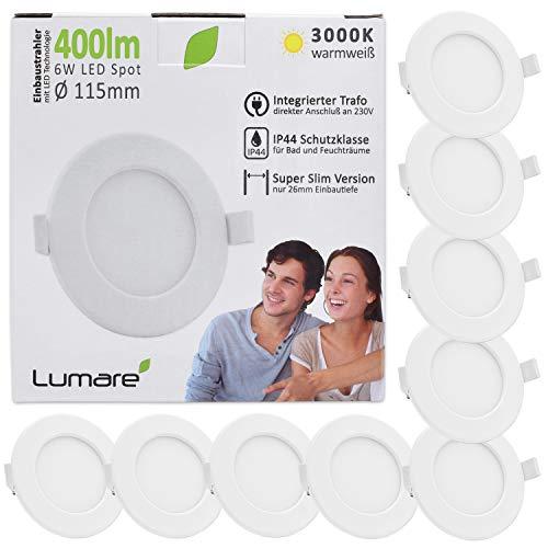 Lumare LED Einbaustrahler 6W 230V IP44 Ultra flach 9er Set Wohnzimmer, Badezimmer Einbauleuchten weiss 26mm Einbautiefe Mini Slim Decken Spot warmweiß
