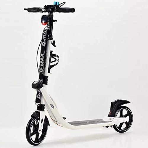 90GJ Scooter para Adultos, Patinete Ligero y fácil de patineta Street Push Scooter con Doble suspensión Manillar Ajustable, Ruedas de 200 mm Correa de Transporte para Adultos Adolescentes Edades 12+