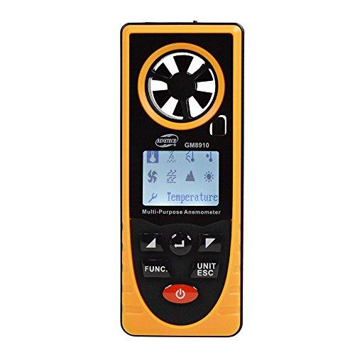 BENETECH 風速計 デジタル 高精度 多機能 デジタル 気圧計 小型 照度計 温度計 湿度計 搭載風速 / 温度 / 湿度 / 露点 / 海抜 / 照度 / 大気圧 / ウィンドチルインデクス測定可  GM8910