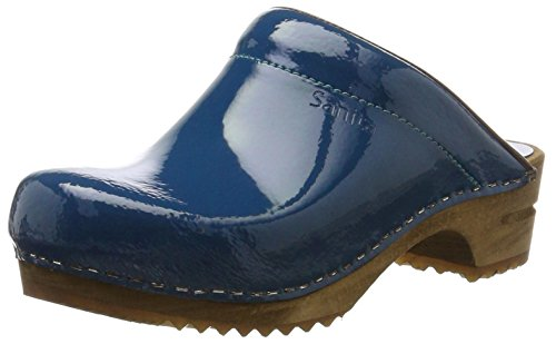Sanita Damen Classic Patent Open Clogs, Blau (Denim 5), 37 EU