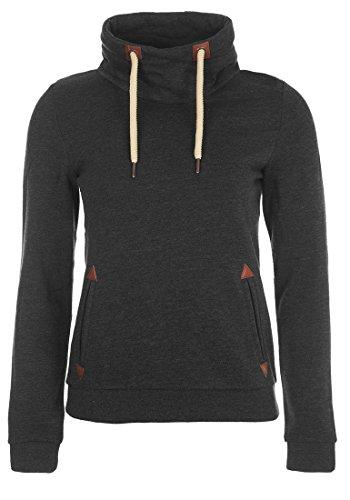 DESIRES Liki Tube Damen Sweatshirt Pullover Sweater Mit Stehkragen Und Fleece-Innenseite, Größe:S, Farbe:Dark Grey Melange (8288)