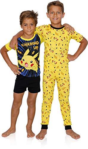 Pokemon Pokémon Little/Big Boys Charcter Print 4-Piece Snug Fit Cotton Pajama Set (4), Yellow, Size 4