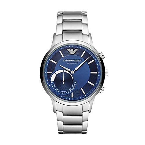 Emporio Armani Reloj Analógico para Hombre de Híbrido con Correa en Acero Inoxidable ART3033