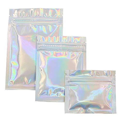 Beste Kwaliteit - Opslag Tassen - Groothandel Prijs huisdier Holografische voedsel opslag Flat Zip Tassen Mylar folie Pouch Herbruikbare Cosmetische Pakket Tas 100 stuks - door Stephanie - 1 PC's 7.5x6.5cm