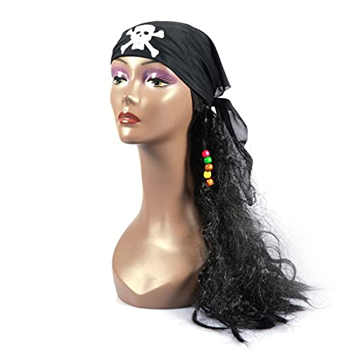 IMIKEYA Peluca Pirata Capitán Pirata Cosplay Disfraz Peluca de Pelo Largo para Niños Adultos Halloween Mascarada Fiesta Decoraciones