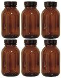 mikken braunes Set 6X 500ml inkl. Schraubverschluss & Etiketten Made in Germany Apothekerglas, Glas, Silber, 6, 6- Einheiten