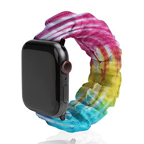 Banda de reloj de tela teñida de colores para Apple Watch, banda deportiva de poliéster, adecuada para mujeres y parejas, bandas elásticas elásticas compatibles con SE 6, 5, 4, 3, 2, 1, 42mm/44mm,