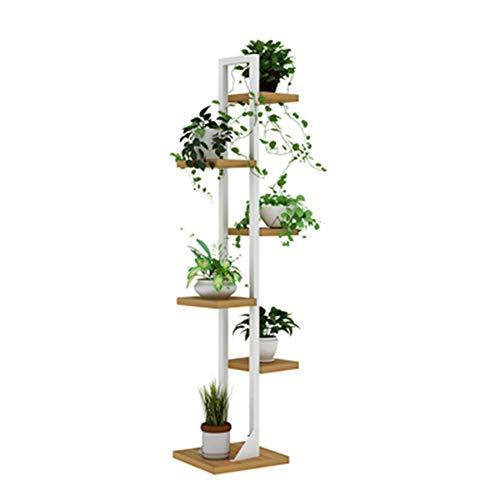 FXDCQC Eckregal aus Metall für Pflanzenständer 5 Bodenregale für Ausstellungsständer für mehrere Pflanzentöpfe Dekorativ-Walnuss-Blumenbank Blumen Blumen Treppe, 1