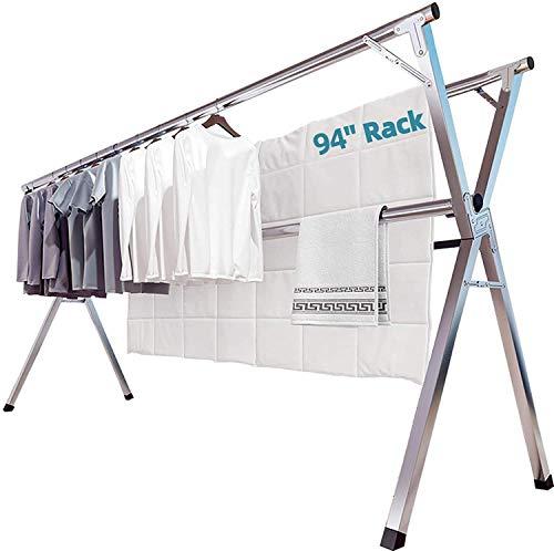 布団干し 物干し 無組立 ステンレス 伸縮タイプ 折りたためる 多機能 大容量ベランダ 室内屋外物干し 洗濯物干し 幅140~240�p 着地x型