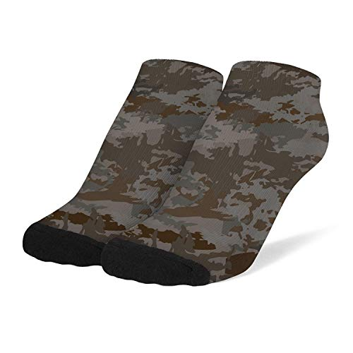 Lady Casual Socks Soft Novelty Crew Socks Military-texture-camouflage- Knit Low Cut Sock