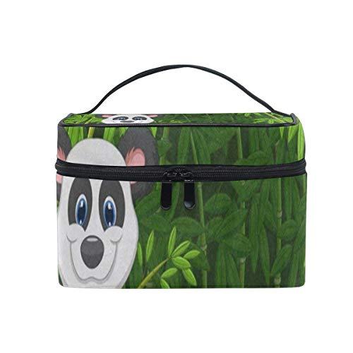 Cartoon pande Jungle Bamboo Cosmetic Bag Portable Grand Trousse de Toilette pour Femmes/Filles Voyage Maquillage Sac