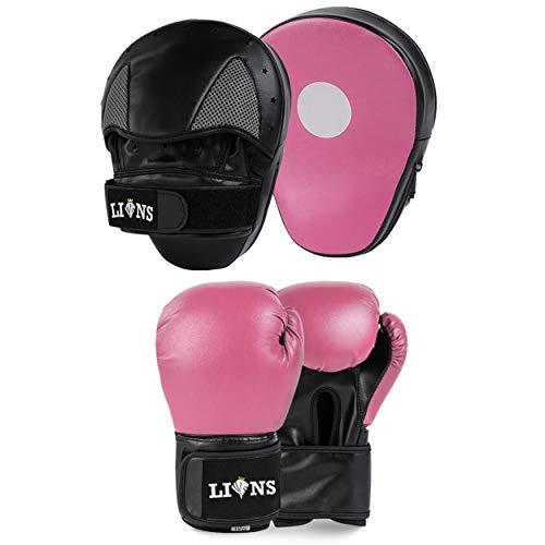 Lions Amateur Fitness Boxing Set Hook & Jab Pads Focus Punch Bag Gloves Target Strike Mitts (Pink Stone, 10oz)
