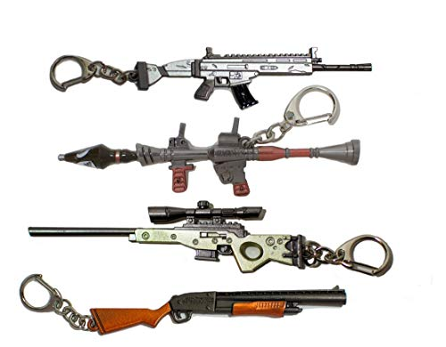 Battle Royale Fortnight Keychain Gamer Royale Metal Gun Party 4 Pack Gift and Birthday Party Favor
