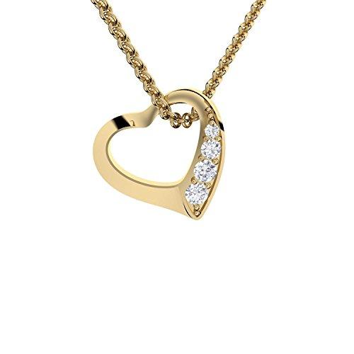 Herz-Kette Gold von AMOONIC mit * Zirkonia Silber 925 hochwertig vergoldet*