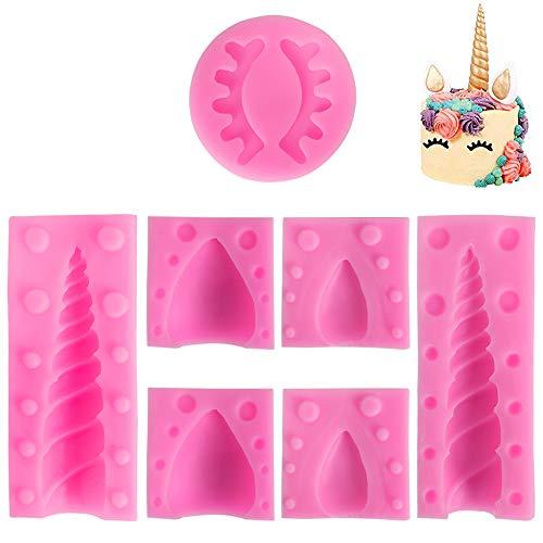 SlowTon Unicornio Fondant Moldes, 7 Piezas de moldes de silicona para pasta de azúcar, magdalena, galletas, pies, cera de jabón, perfecto para fiesta temática y cumpleaños de...