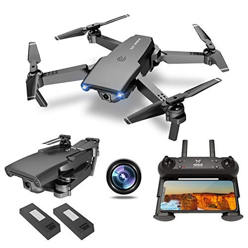 NEHEME NH525 Foldable Drones with 720P HD Camera for Adults, RC Quadcopter WiFi FPV Live Video, Altitude Hold, Headless Mode, One Key Take Off for Kids or Beginners with 2 Batteries 22mins