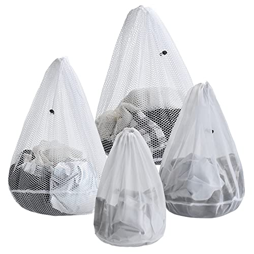 ARZASGO Bolsas de lavandería de malla, paquete de 4 bolsas de lavandería resistentes con cordón para ropa delicada, ropa, lencería, calcetines, sujetadores y ropa de bebé (malla gruesa y fina)
