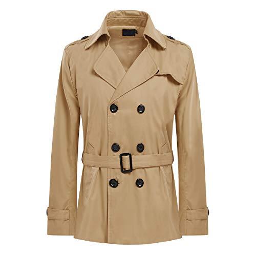AOWOFS Herren Trenchcoat Kurz Regular Fit Übergangsjacke Jacke für Frühling Sommer