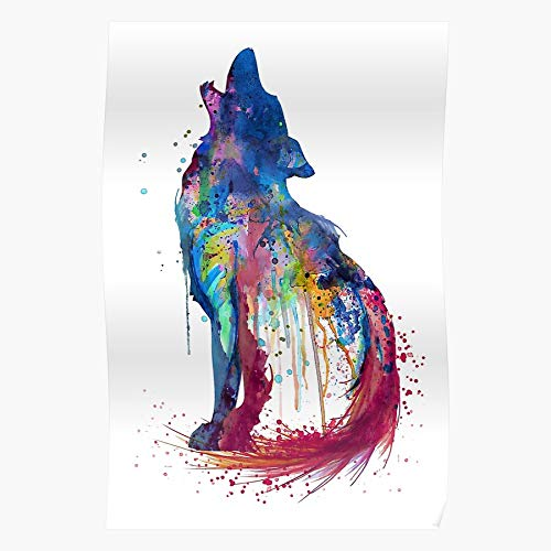 Silhouette Howling Painting Art Watercolor Wolf Animal Wolves Impressive Posters for Room Decoration Printed with The Latest Modern Technology on semi-Glossy Paper Background