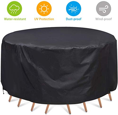MaiQi Garden Furniture Covers Round, 420D Patio Furniture Covers Waterproof, Outdoor Table Covers (128cmX71cm)