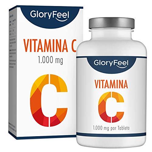 GloryFeel Vitamina C de dosis alta 1000 mg - Reduce el cansancio y la fatiga y mejora el sistema inmunológico - 200 comprimidos de vitamina c pura - Vegano, sin aditivos, sin gluten, No-GMO, GMP