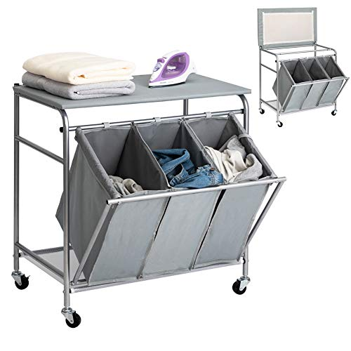 HollyHOME Laundry Sorter Cart Ironing Board with Side Pull 3-Bag Heavy-Duty Laundry Hamper 4 Wheels Grey